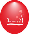 Background for hair salon with barbershop tools red round Royalty Free Stock Photography