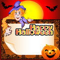 Background halloween with the scarecrow and pumpkin illustration Royalty Free Stock Photos