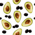 Background with halves of avocado and olives.