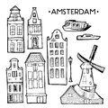 Background with hand drawn doodle Amsterdam houses. Isolated black and white. Illustration vector.