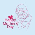 Background hand drawn mother with baby