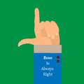 The background is a hand with a raised index finger-style flat. Boss is Always right Royalty Free Stock Photo