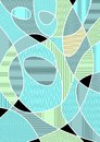 Background with hatched mosaic elements in different shades of green and blue. Modern vector patterns separated by a white curve Royalty Free Stock Photo