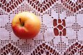 stock image of  Background for a healthy diet. Healthy eating concept. Apple on a table on a patterned tablecloth.