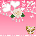 Background with heart rose wedding rings and pearls illustration Stock Images