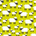 Background with a herd of sheeps on a field vector Royalty Free Stock Image