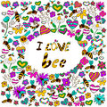 Background i love bee doodle with bees in various poses with the text bees with different flowers vector illustration drawn in a Royalty Free Stock Photos