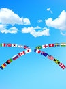 Background illustration of sky and national flag Royalty Free Stock Photos