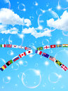 Background illustration of sky and national flag Royalty Free Stock Image