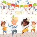 Background illustrations at childrens dance party. Template of poster for kids invitation Royalty Free Stock Photo