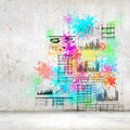 Background image with colorful splashes and drops Royalty Free Stock Photo