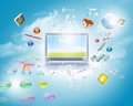 Background image with laptop and media icons Stock Photos