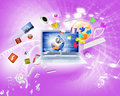 Background image with laptop and media icons Royalty Free Stock Photography