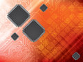 Background with integrated circuit and data proces technology processor Stock Photo