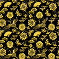Background of japanese new year's design black with golden powder and illustrations Royalty Free Stock Image