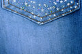 Background jeans material stars and rhinestones on the pocket Royalty Free Stock Photos