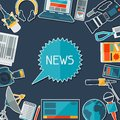 Background with journalism icons mass media and press conference concept symbols in flat style Royalty Free Stock Photography