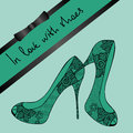 Background of lace pair of shoes elegance with text in love with Stock Photos