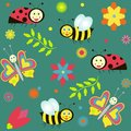 Background with ladybirds butterflies and bees seamless flowers Stock Photo