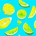 Background with lime and lemon slices pattern.