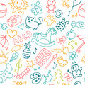 Background for little boys and girls in sketch style. Hand drawn Royalty Free Stock Photo