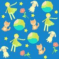 Background with the little prince characters seamless Stock Photography