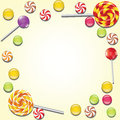 Background with lollipop and candies frame Stock Photos