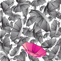 Background from many grey umbrellas and one pink umbrella