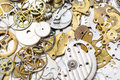 Background from many old watch spare parts Royalty Free Stock Photo