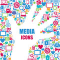 Background with media icons modern and retro design elements Royalty Free Stock Images