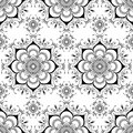 Background with mehndi floral henna seamless lace buta decoration items in Indian style. Royalty Free Stock Photo