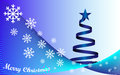 Background merry christmas and blue christmas tree white text Stock Image