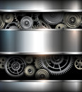 Background metallic with technology gears vector illustration Stock Photography