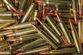 Background of military ammunition bullets in a row Royalty Free Stock Photos