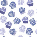 Background with mittens vector blue Stock Images