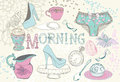Background with morning tea vintage breakfast illustration for design Stock Photo
