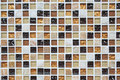 Background mosaic wall in brown, white, orange color Royalty Free Stock Photo