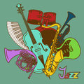 Background with musical instruments colorful Royalty Free Stock Photo