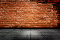 Background of natural red brick and cement  flooring Royalty Free Stock Photo