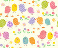 Background with nestling seamless and flowers Stock Photography
