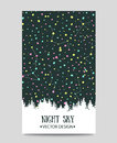 Background with night sky. stars and forest. Royalty Free Stock Photo