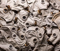 Background of old dirty gas masks Royalty Free Stock Image