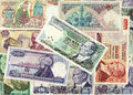 Background of old Turkish lira banknotes Stock Images