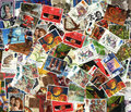 Background of old used British postage stamps Royalty Free Stock Photos