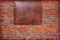 Background of old vintage brick wall.cracked concrete vintage brick wall background.free space for text in wood banner. Royalty Free Stock Photo
