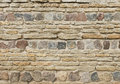 Background of old vintage limestone wall with granite stones texture Stock Images
