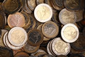 Background of one and two euro coins Royalty Free Stock Image
