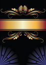Background with ornament and golden ribbon. Royalty Free Stock Photo