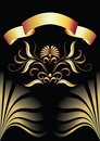 Background with ornament and golden ribbon Royalty Free Stock Photo