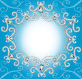 Background with ornament with pearls and silver twisted edge illustration Stock Image